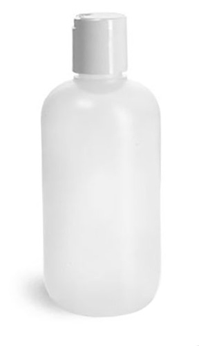 Plastic Bottles, Natural HDPE Boston Round Bottles w/ White Disc Top Caps