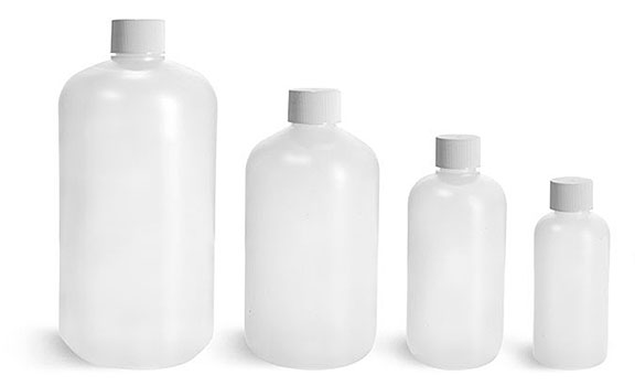 Plastic Bottles, Natural HDPE Boston Round Bottles w/ White Lined Screw Caps