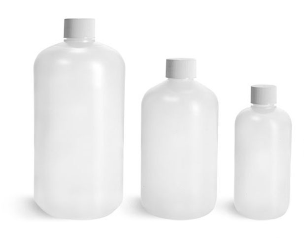 HDPE Plastic Bottles, Natural Boston Round Bottles w/ White Lined Screw Caps