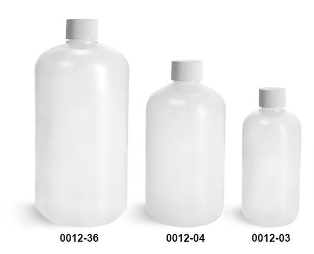 Plastic Bottles, Natural HDPE Boston Round Bottles w/ White Lined Screw Caps