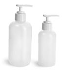 HDPE Plastic Bottles, Natural Boston Round Bottles w/ White Pumps