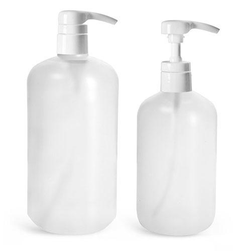 HDPE Plastic Bottles, Natural Boston Round Bottles w/ Smooth White 4 cc Lotion Pumps
