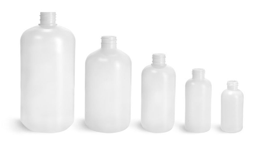 Natural HDPE Boston Round Bottles (Bulk), Caps NOT Included