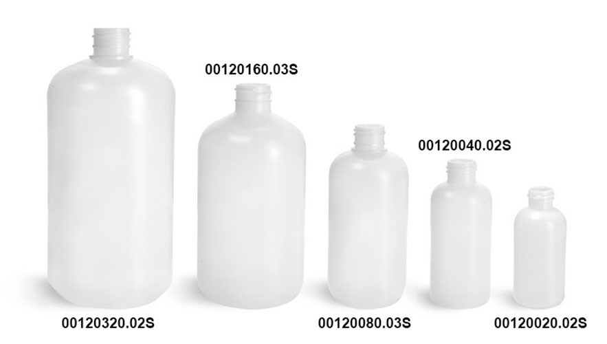 Natural HDPE Boston Round (Bulk), Caps NOT Included