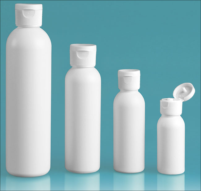 HDPE Plastic Bottles, White Cosmo Round Bottles w/ White Polypropylene Ribbed Snap Top Caps