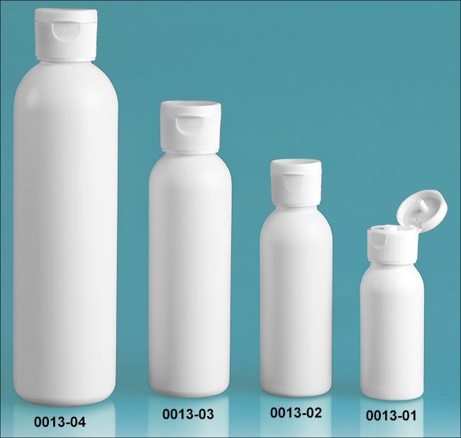 Plastic Bottles, White HDPE Cosmo Round Bottles w/ White Polypropylene Ribbed Snap Top Caps