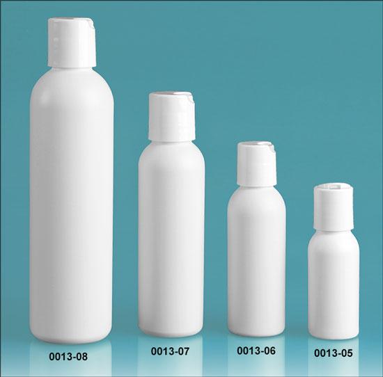 Plastic Bottles, White HDPE Cosmo Round Bottles w/ White Polypro Disc Top Caps