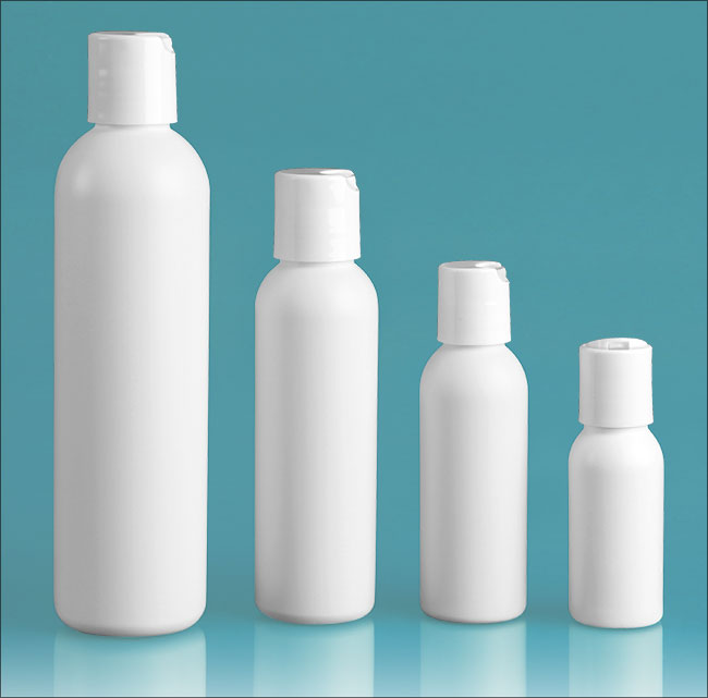HDPE Plastic Bottles, White Cosmo Round Bottles w/ White Polypro Disc Top Caps