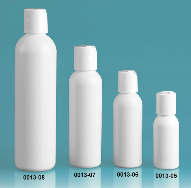 Plastic Bottles, White HDPE Cosmo Round Bottles w/ White Polypro Disc Top Caps