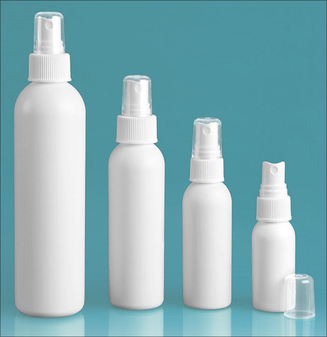 HDPE Plastic Bottles, White Cosmo Round Bottles w/ White Polypropylene Fine Mist Sprayers