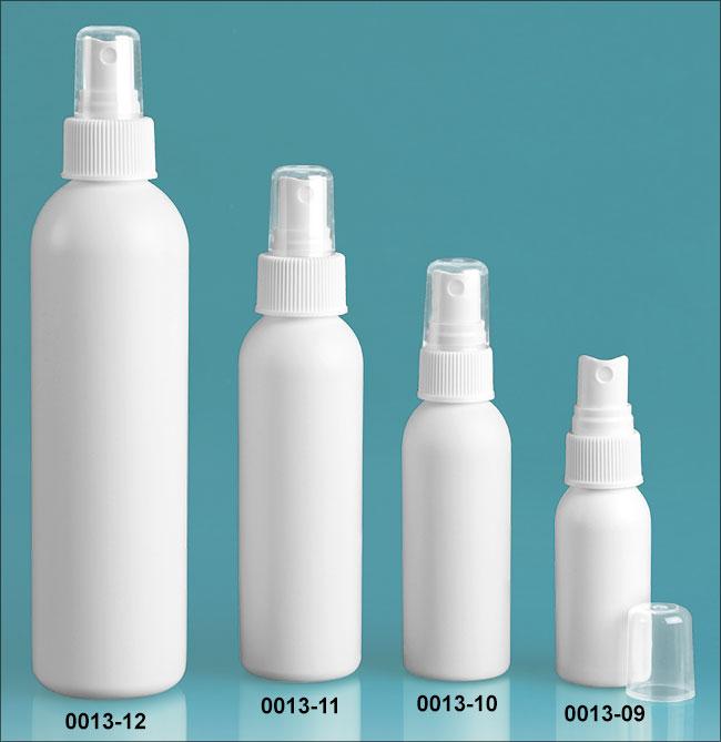 Plastic Bottles, White HDPE Cosmo Round Bottles w/ White Polypropylene Fine Mist Sprayers