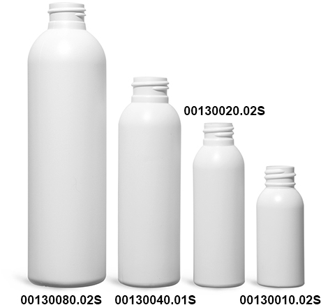 Plastic Bottles, White HDPE Cosmo Rounds (Bulk), Caps NOT Included