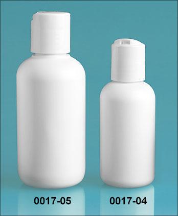 Plastic Bottles, White HDPE Boston Rounds w/ White Disc Top Caps
