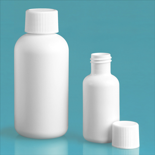 HDPE Plastic Bottles, White Boston Round Bottles w/ White Ribbed Lined Caps
