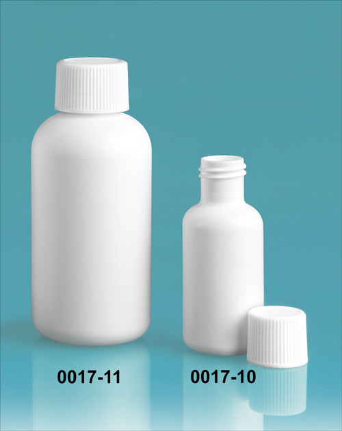 Plastic Bottles, White HDPE Boston Rounds w/ White Ribbed Lined Caps