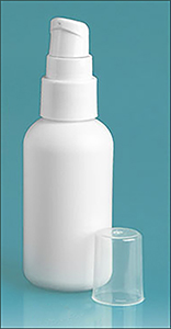 Plastic Bottles, White HDPE Boston Rounds w/ White Treatment Pumps