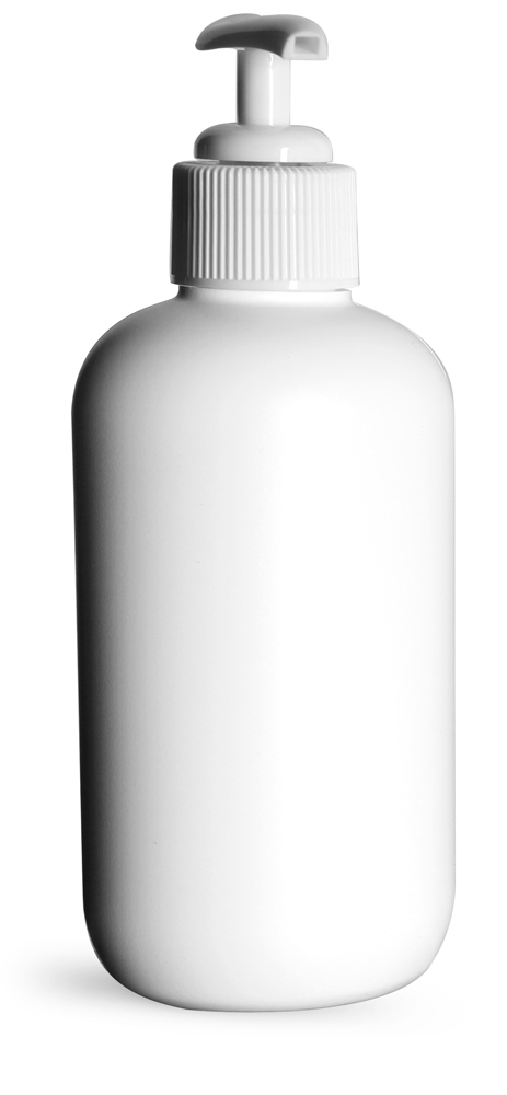 8 oz White HDPE Boston Rounds w/ White Lotion Pumps