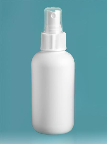 Plastic Bottles, White HDPE Boston Rounds w/ White Sprayers