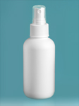HDPE Plastic Bottles, White Boston Round Bottles w/ White Sprayers