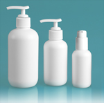 HDPE Plastic Bottles, White Boston Round Bottles w/ White Lotion Pumps