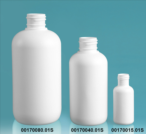 White HDPE Boston Rounds (Bulk), Caps NOT Included