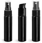 PET Plastic Bottles, Black Slim Line Cylinder Bottles w/ Pumps or Sprayers