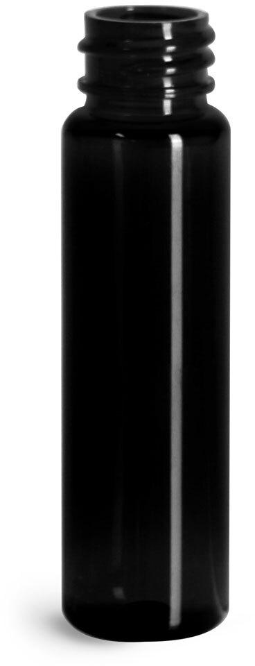 Plastic Bottles, Black PET Slim Line Cylinders