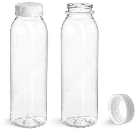 Plastic Bottles, Clear PET Round Beverage Bottles w/ White Tamper Evident Caps