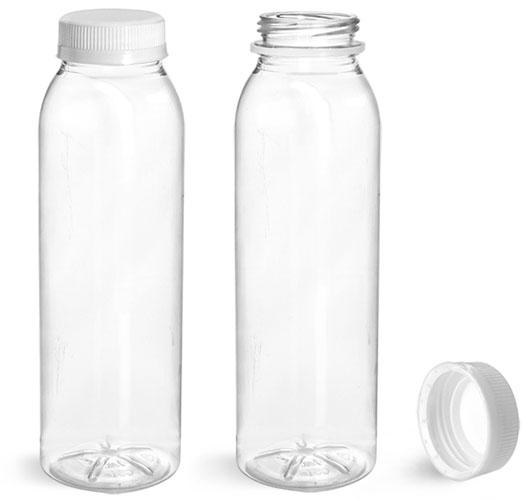 Plastic Bottles, Clear PET Round Beverage Bottles w/ White Tamper Evident Caps