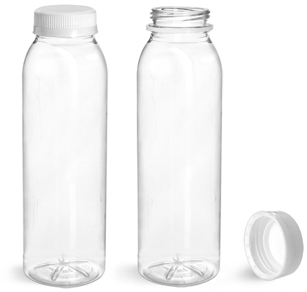 PET Plastic Bottles, Clear Round Beverage Bottles w/ White Tamper Evident Caps