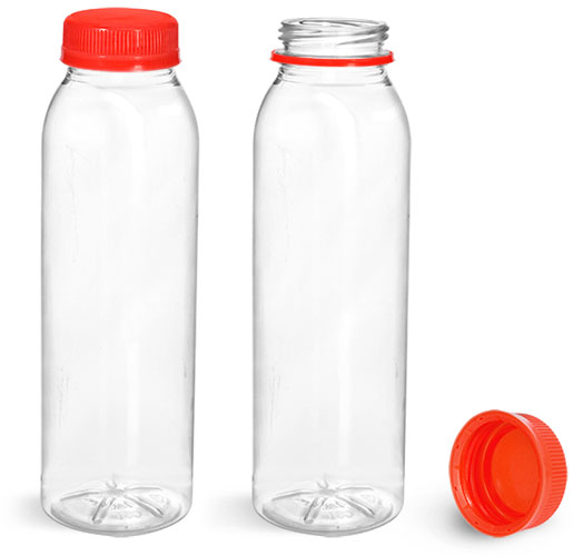 Plastic Bottles, Clear PET Round Beverage Bottles w/ Red Tamper Evident Caps