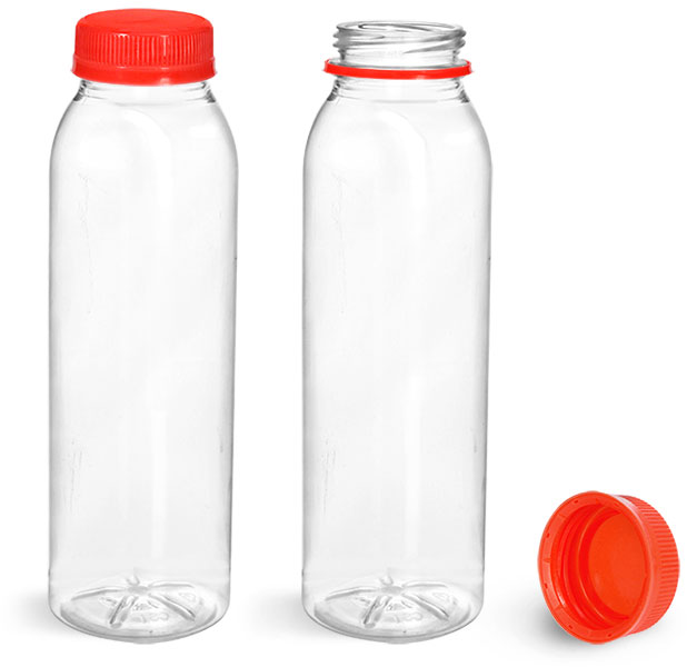 PET Plastic Bottles, Clear Round Beverage Bottles w/ Red Tamper Evident Caps