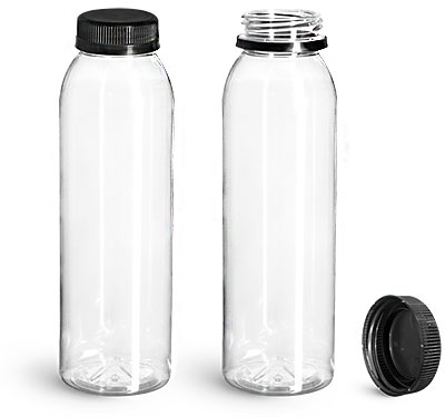 Plastic Bottles, Clear PET Round Beverage Bottles w/ Black Polypro Tamper Evident Caps