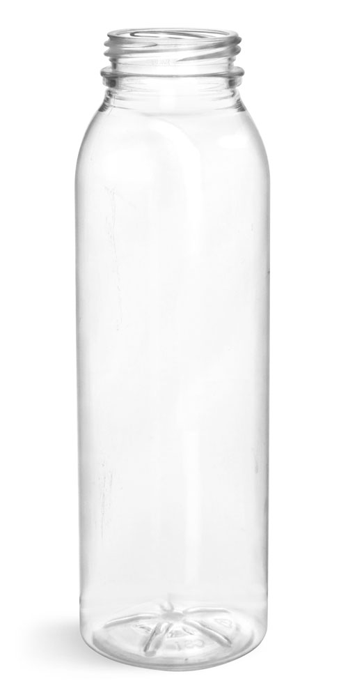 Plastic Bottles, Clear PET Round Beverage Bottles