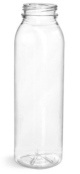 Plastic Bottles, Clear PET Round Beverage Bottles