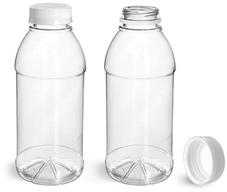 PET Plastic Bottles, Clear Beverage Bottles w/ White Tamper Evident Caps