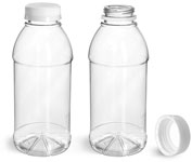 Clear PET Beverage Bottles w/ White Tamper Evident Caps