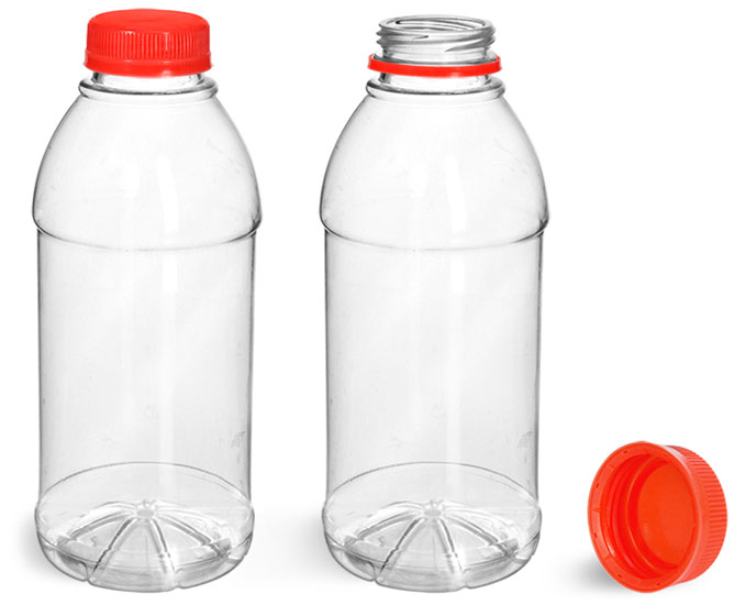 Plastic Bottles, Clear PET Beverage Bottles w/ Red Tamper Evident Caps