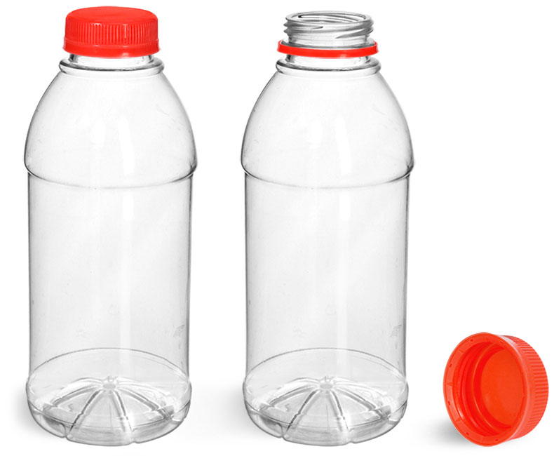 PET Plastic Bottles, Clear Beverage Bottles w/ Red Tamper Evident Caps