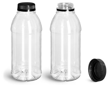 Plastic Bottles, Clear PET Beverage Bottles w/ Black Polypro Tamper Evident Caps