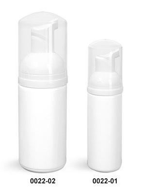 Plastic Bottles, White HDPE Cylinder Bottles w/ White Foamer Pumps & Overcaps