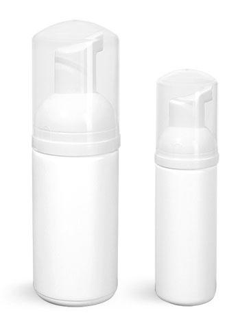 HDPE Plastic Bottles, White Cylinder Bottles w/ White Foamer Pumps & Overcaps