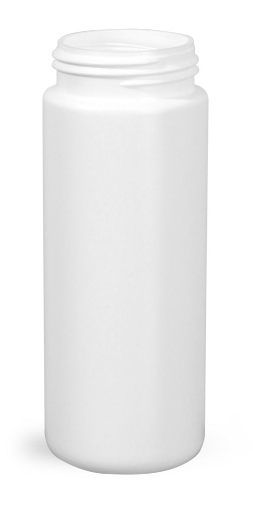 50 ml Plastic Bottles, White HDPE Cylinders (Bulk), Caps NOT Included