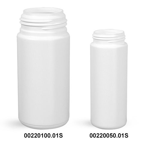 Plastic Bottles, White HDPE Cylinders (Bulk), Caps NOT Included