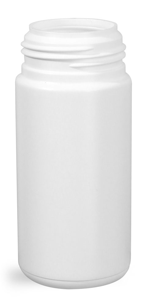 100 ml Plastic Bottles, White HDPE Cylinders (Bulk), Caps NOT Included