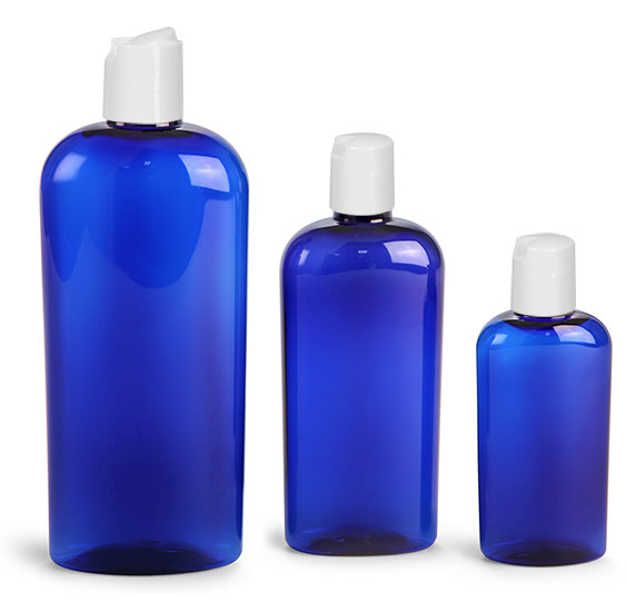 Plastic Bottles, Blue PET Cosmo Oval Bottles w/ White  Disc Top Caps