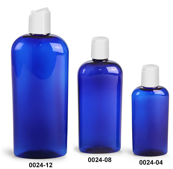 Plastic Bottles, Blue PET Cosmo Oval Bottles With White Disc Top Caps
