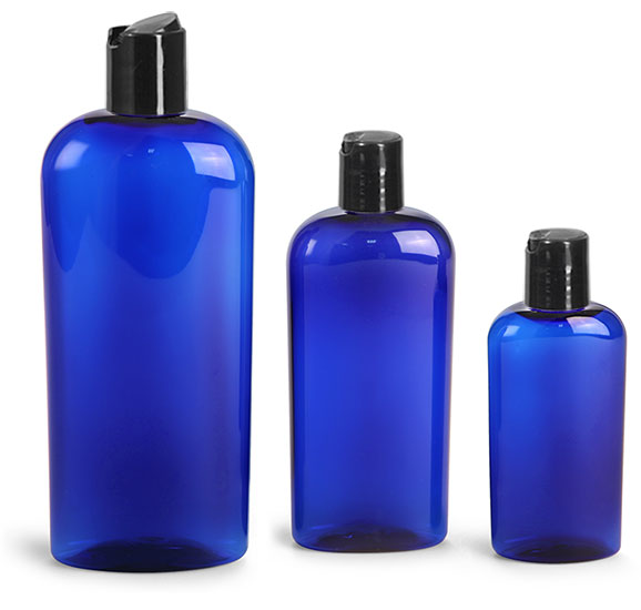 Plastic Bottles, Blue PET Cosmo Oval Bottles w/ Black Disc Top Caps