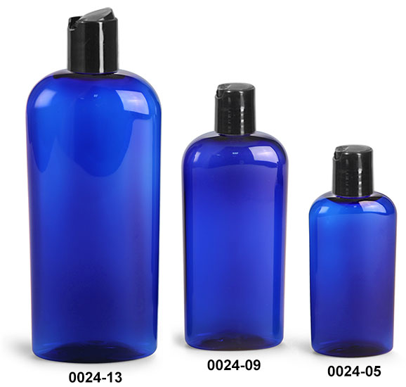 Plastic Bottles, Blue PET Cosmo Oval Bottles With Black Disc Top Caps