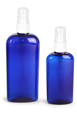 Plastic Bottles, Blue PET Cosmo Oval Bottles w/ White Ribbed Fine Mist Sprayers